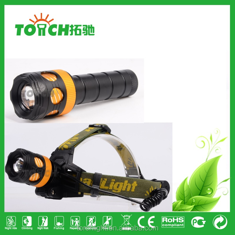 CRE E T6 LED High power LED Flashlight Headlamp Headlight 1200Lm with 18650 Battery Pack 4400mAh