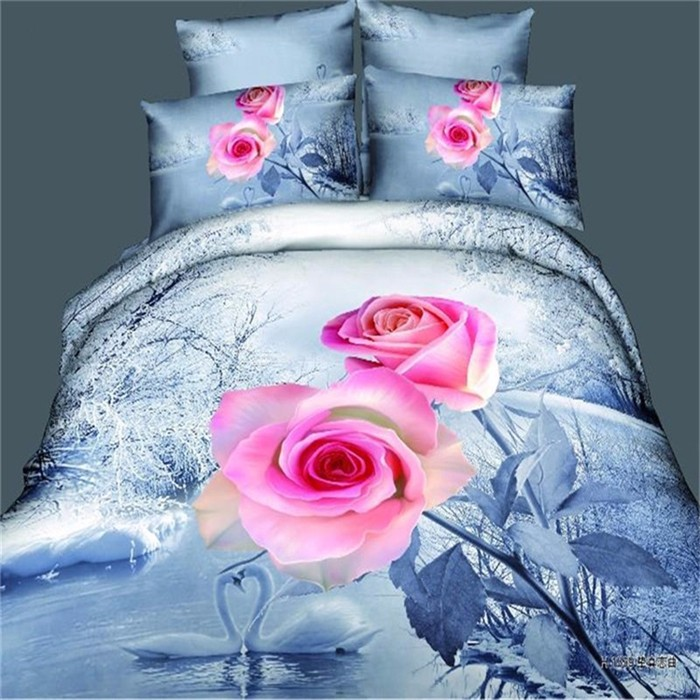 Blue Bed Set Quilts Comforter Sets Bedding Sets With Pink Rose Pattern