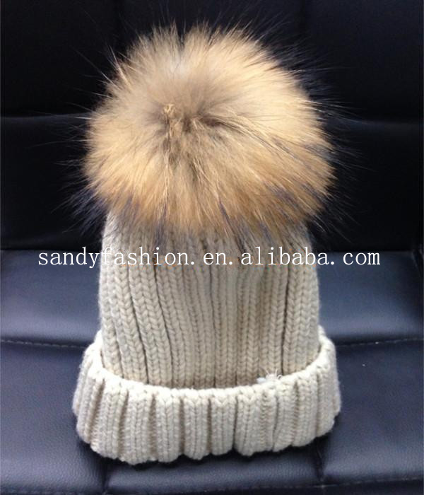 2014 new wool knitted comfortable and fashion raccoon/fox fur pom poms knit hat