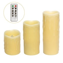 Remote Control Led Pillar Dripping Flameless Candle,Ivory,4,6,8 Inch Height