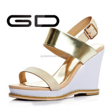 designer gold one stripe wedge heel summer sandals