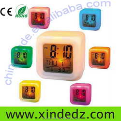 Newest 7 color change led digital lcd alarm clock with logo/picture print cube digital alarm clock