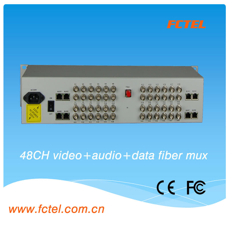 Audio Video Transmitter and Receiver multiplexer 48 channel video(BNC) audio data over fiber optical transmitter receiver