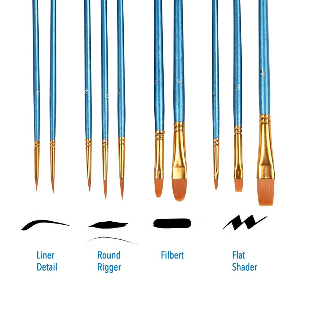 Paint Brush Set Acrylic 10pcs Professional Paint Brushes Artist for Watercolor Oil Acrylic Painting