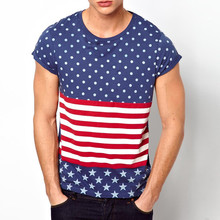 mix color t shirt with spots and stars print and roll sleeve
