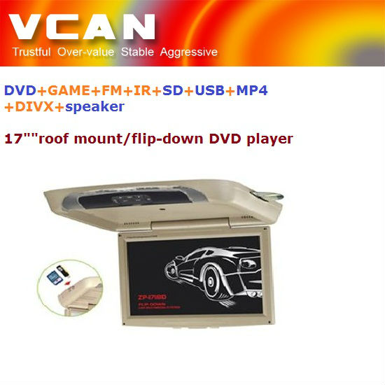 "roof mount lcd color monit/17"" car flipdown/roofmount/overhead DVD player with DVD+GAME+FM+IR+SD+USB+MP4+DIVX+speaker function"