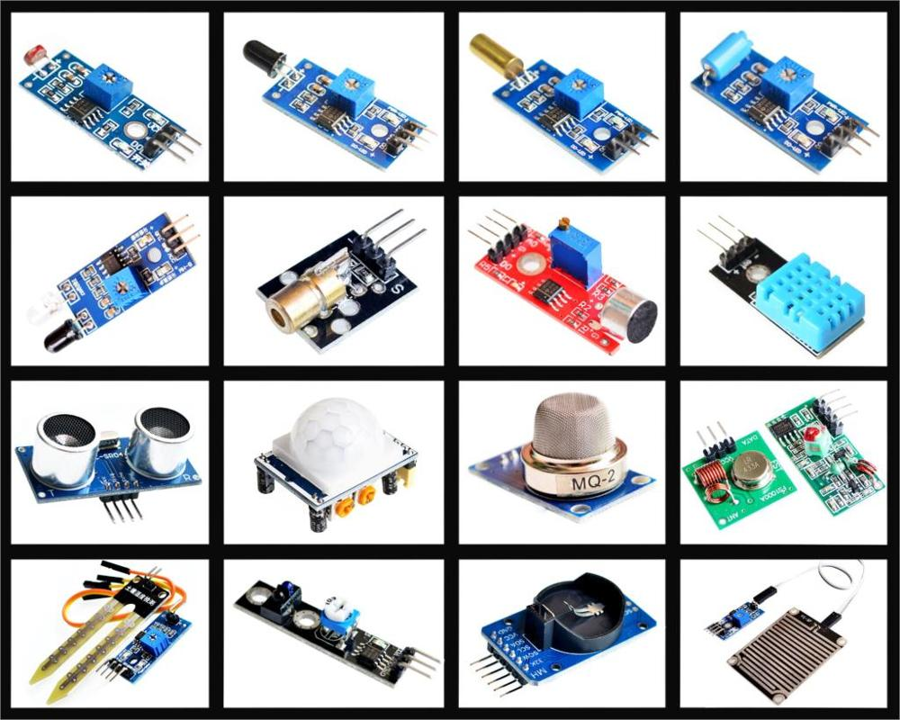 16pcs/lot Raspberry Pi 3&Raspberry Pi 2 Model B the sensor module package 16 kinds of sensor Free shipping