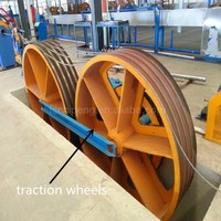 double wheel capstan for wire cable pulling