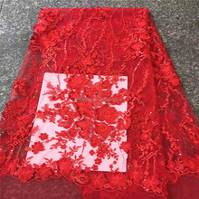 Guangzhou fashion women top textile material fabric red 3d flower embroidered tulle fabric lace for dress