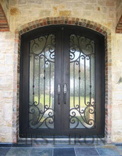 Elegant wrought iron double entry door with operable glass with thermos break