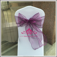 SCS107 Cheap Chair Covers Chair Sashes For Sale Puprle Organza Chair Sash