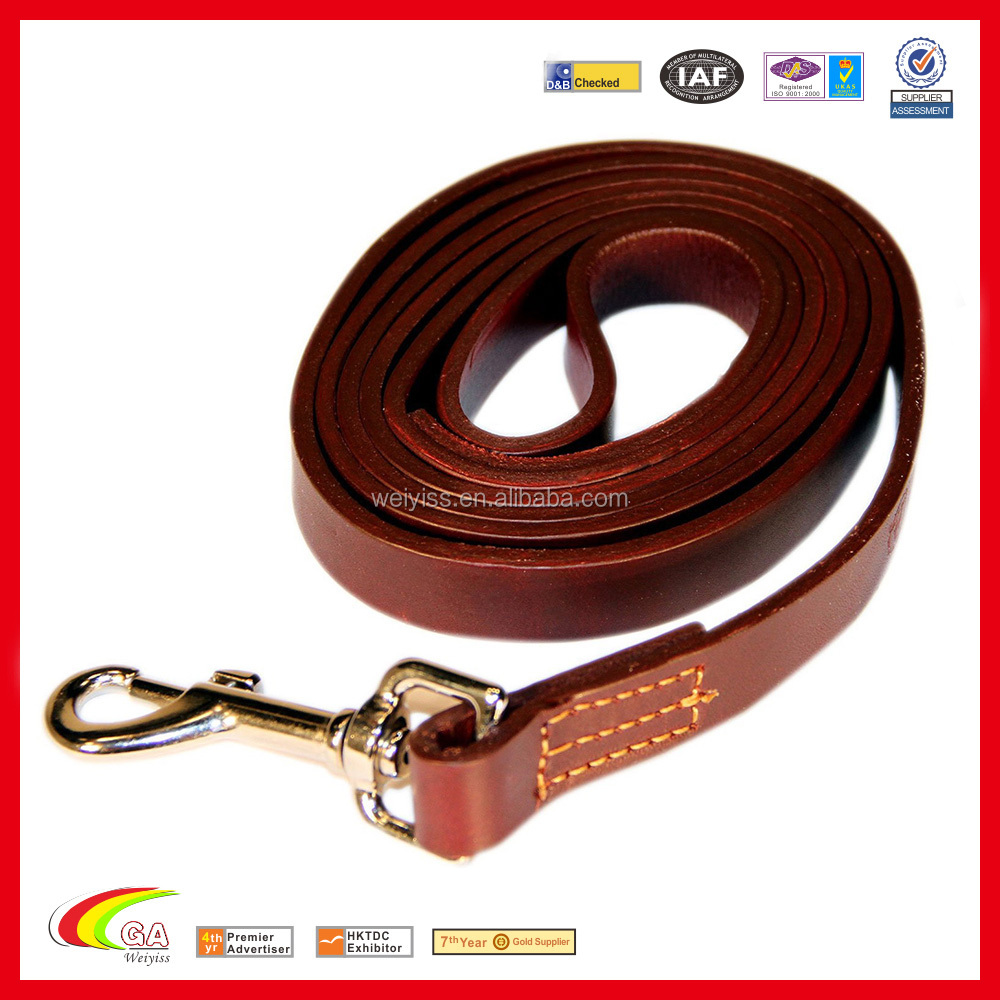 Burgundy Color Hight Quality Real Leather Dog Leash for Big Dog, 6 Foot Long Full Grain Leather Dog Leash
