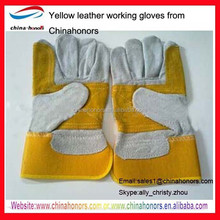 yellow leather work glove en388/cow split leather working gloves