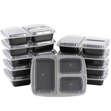 3 Compartment Meal Prep Containers Reusable Bento Lunch Box with Lids, Better Leak Resistant Microwavable Plastic Food Container