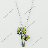 Alloy mixed color crystal coconut palm tree pendant necklace