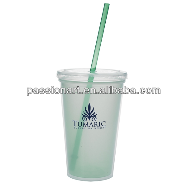 Promotional double layer plastic coffee mug with handle screw lid Nestle