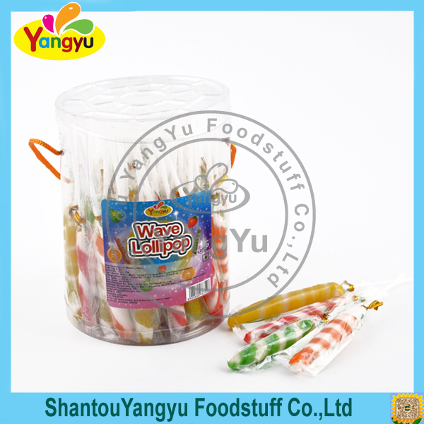 Good Taste colorful fruity stripe thin twist fancy lollipop