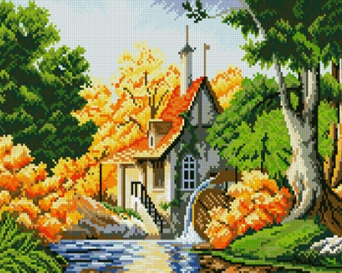GZ668- 40*50 village scenery paint handmade landscape diamond painting