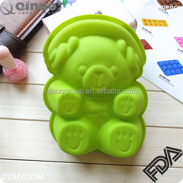 Factory custom made homemade silicone bear shaped cake mould