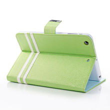 Fresh green stand case magnetic belt leather case for ipad mini