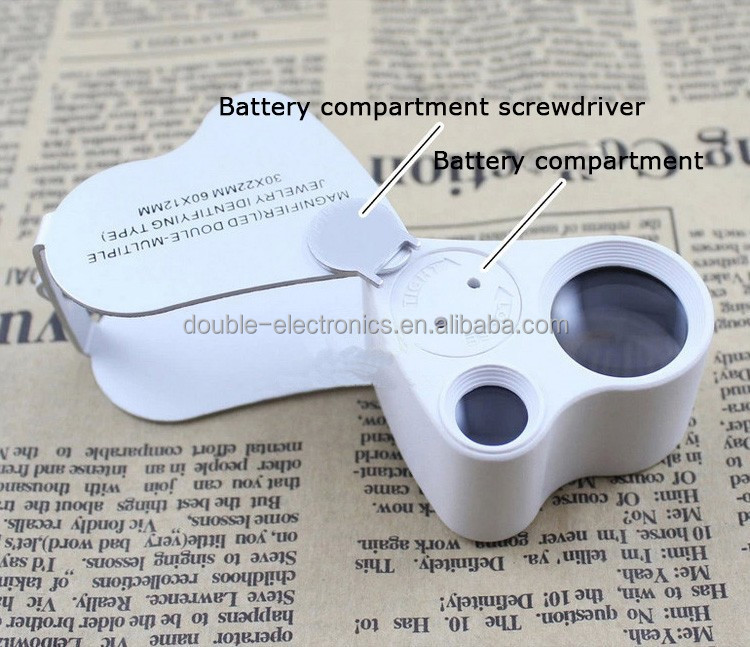 NO.9889 Jewelry HD Optical TWO Lenses Magnifier LED Light 30x 60x Magnification Lupa Appraisal Mini Magnifying Glass