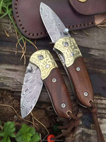 Rosewood sugar cane gerber knife damascus folding knife for sales