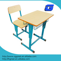Lecong metal frame commercial cheap price wooden students desk and chair set