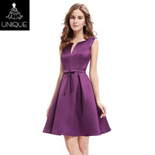 Purple simple latest designer cocktail dress 2018 womens cocktail party dress for fat girls