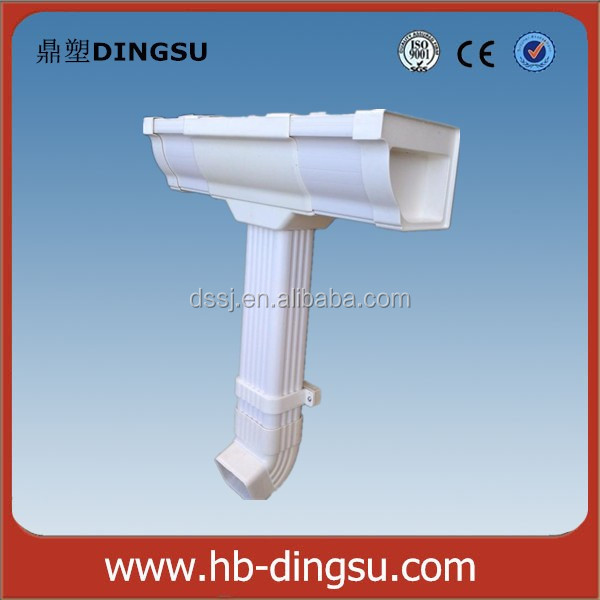 PVC rectangular Gutter system downspout or downpipe fitting pipe connector china manufacturer roofing using Rain Carrying System