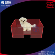 rectangle red color lucite acrylic dog cat house / pet bed