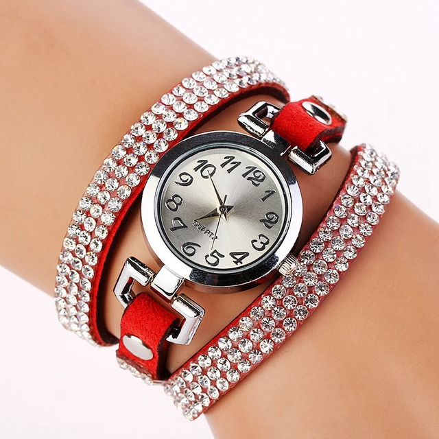 FUNIQUE Luxury Rhinestone Bracelet Watches Women Quartz Wristwatches Multilayer leather Wrap Leather Bracelet Watch TOP Brand