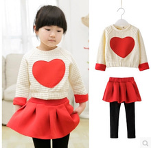 Autumn new children's clothing girls children Hedging love sweater piece fitted C space cotton culottes