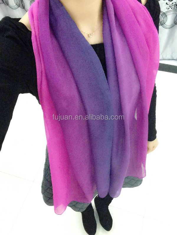 2014 Plain Gradient Colour Silk Chiffon Scarf