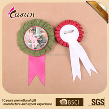 High quality printable ribbon rosette round satin ribbon badge