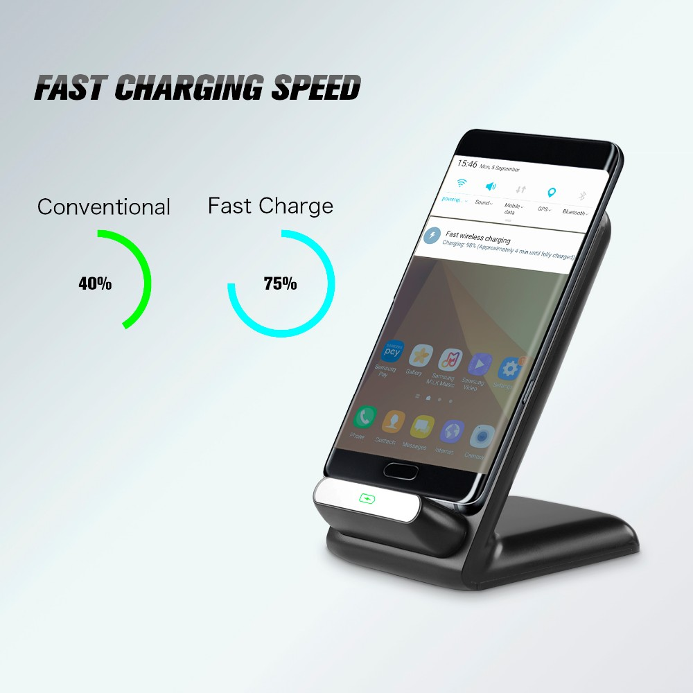 qi 2 coils stand wireless charger dc 9v 1 8a fast charger. Black Bedroom Furniture Sets. Home Design Ideas