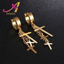 Fashion surgical stainless steel body piercing jewelry gold black silver hoop earring with chain cross