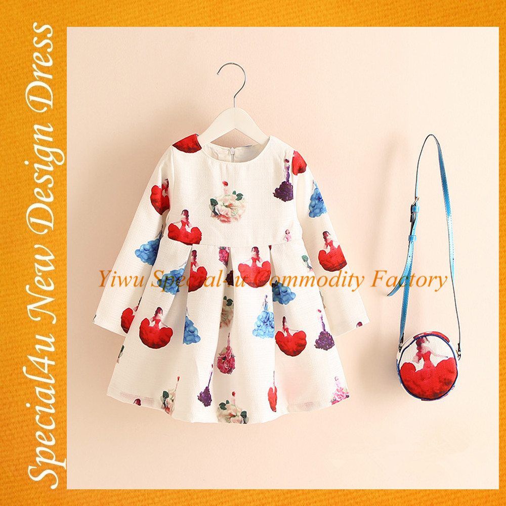 NSY-030 New designs Children Clothing Long Sleeve Kids Dress Baby Frock