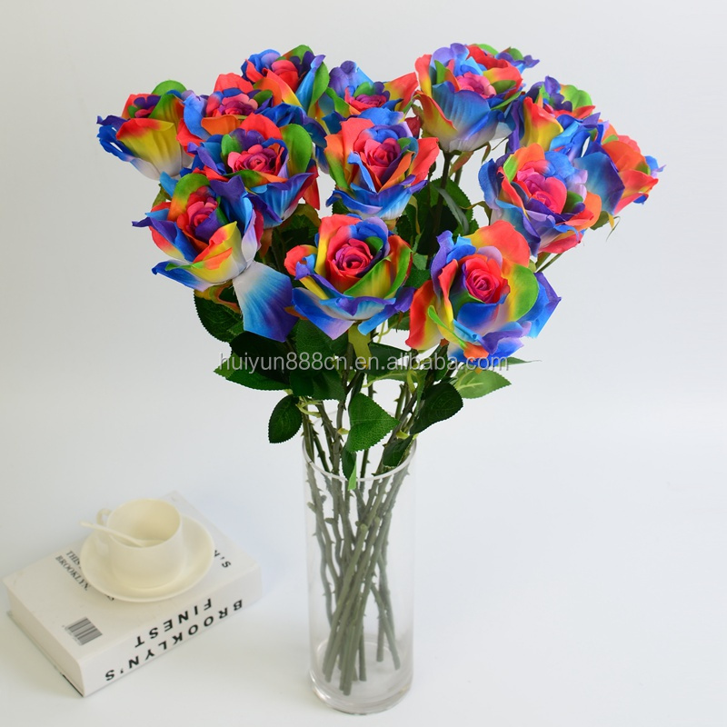 China wholesale silk rainbow princess rose festival decorative single stem artificial flower