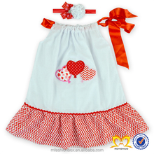 2016 Valentines Heart Shape Cotton Kid Dress Pillowcase Hand Embroidery Designs for Baby Dress Baby Dress Pictures