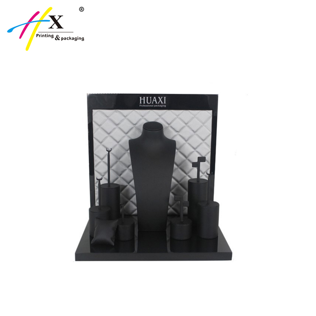 Wholesale custom black PU wooden jewelry display stand rack