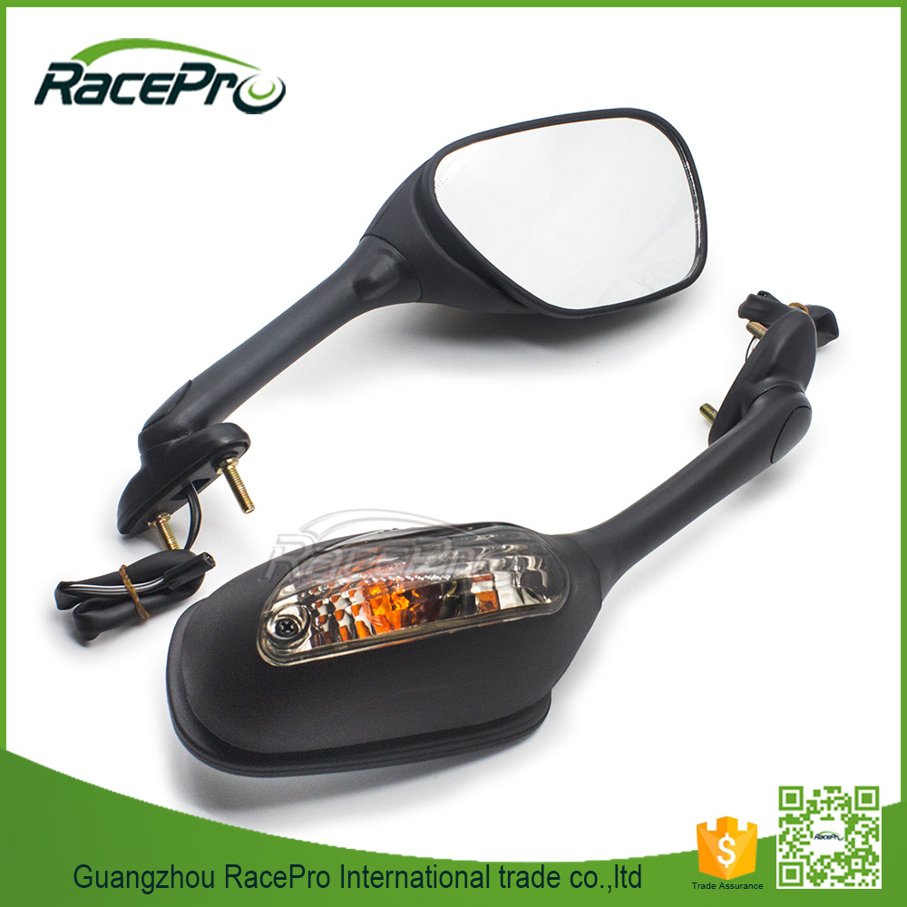 Black Motorcycle Turn Integrated Signal Mirrors For Suzuki GSXR 600 750 1000 2006-2008