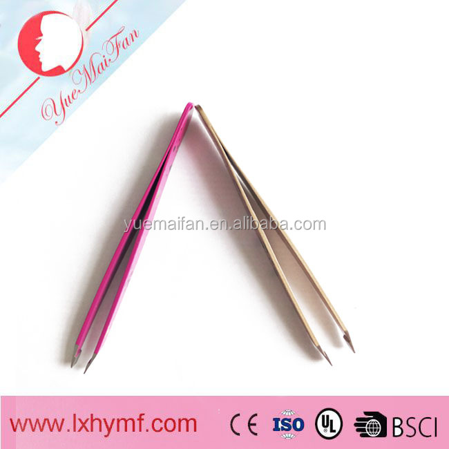 Womens + mens eyebrow tweezers with slanted tip - Quality stainless steel