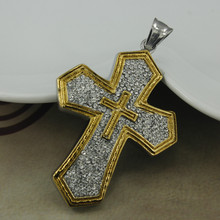 SP0803012 Fashion High Quality Wholesale Stainless Steel Two Tone Austia Crystal Cross Pendants