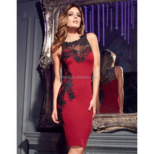 New Hot Vintage Noble Wine Red Round Neck Mesh Lace Embroidery Halter short cocktail dress 2014 Bandage Dress H780