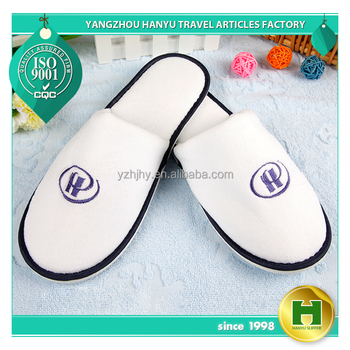 "Worsted Polyester Velvet Pile Hotel Slippers / Disposable ""H"" Logo Velour Terry Towel Guest Slippers / Luxury 5 Stars Slippers"