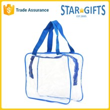 Custom Size Durable Waterproof See Through Clear PVC Reusable Travel Bag With Two Sturdy Handles
