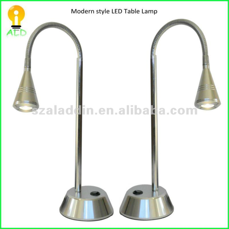 Aluminum alloy case with snake goose neck reading lamp 3W 220V LED stand