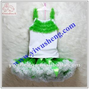 green pettiskirt sets fashion girl's wears children's party wear sets lovey and cute outfits