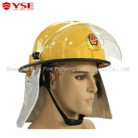 CE standard used plastic PC visor adjustable nylon belt fire helmet