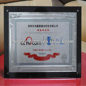 Custom acrylic award plaque as trophy award for business gifts embossed logo